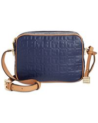 Tommy Hilfiger | Blue Th Hinge Debossed Nappa Mini Crossbody | Lyst