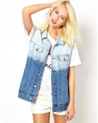Just Female | Blue Denim Gilet | Lyst