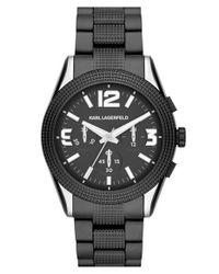 Karl Lagerfeld - Black 'kurator' Chronograph Textured Bracelet Watch for Men - Lyst