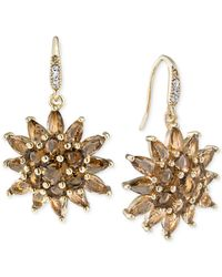 Carolee | Gold-tone Brown Crystal Cluster Drop Earrings | Lyst