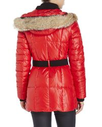 Marc New York | Red Real Fur Trim Belted Down Coat | Lyst