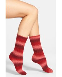 Hue | Red Ombre Stripe Crew Socks | Lyst