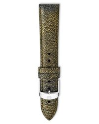 Michele - Metallic 18mm Saffiano Leather Watch Strap - Lyst