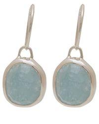 Monica Vinader - Green Silver Aquamarine Siren Wire Earrings - Lyst