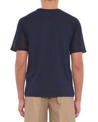 Sunspel | Blue Mesh-Contrast Cotton-Jersey T-Shirt for Men | Lyst