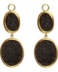 Annoushka | Metallic Drusy Wrapped 18ct Yellow-gold And Onyx Double Drop Earrings | Lyst