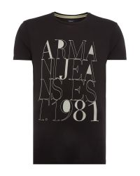 Armani Jeans | Black Regular Fit 1981 Printed Logo T Shirt for Men | Lyst