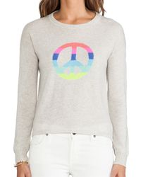 Autumn Cashmere | Hi Lo Rainbow Peace Pullover in Gray | Lyst