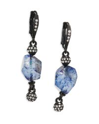 Oscar de la Renta - Blue Quartz & Crystal Drop Earrings - Lyst