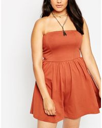 ASOS - Black Bandeau Beach Playsuit In Jersey - Lyst