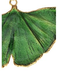 Aurelie Bidermann - Green Ginkgo Lacquered Yellow-Gold Earrings - Lyst