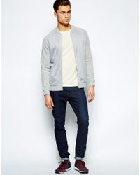 ASOS - Gray Bomber In Jersey With Mesh Body for Men - Lyst