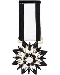 Shourouk | Black Embellished Medal Brooch | Lyst