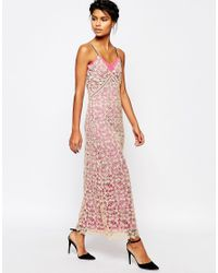 Self-Portrait - Lace Shell Maxi Slip Dress With Pink Lining - Lyst