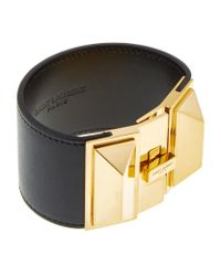 Saint Laurent | Black Clous Punk Wide Cuff Bracelet | Lyst