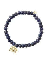 Sydney Evan | Black 6mm Faceted Sapphire Beaded Bracelet With 14k Gold/diamond Small Elephant Charm (made To Order) | Lyst