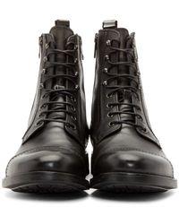 DIESEL - Black Leather Zd-kallien Boots for Men - Lyst
