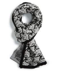 KENZO - Black Allover Tiger Jacquard Wool Scarf for Men - Lyst