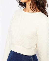 Glamorous | Natural Quilted Sweatshirt | Lyst
