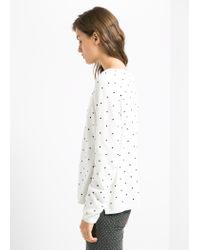 Mango - White Embossed Polkadot Sweater - Lyst