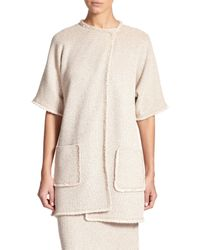 St. John | Natural Eyelash-fringed Knit Jacket | Lyst