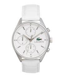 Lacoste - White 'philadelphia' Multifunction Leather Strap Watch - Lyst