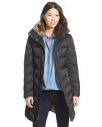 Betsey Johnson | Black Faux Fur Trim Three Quarter Length Puffer Coat | Lyst