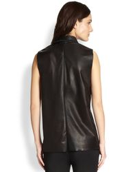 Alexander Wang - Black Collared Leather Tank Top - Lyst