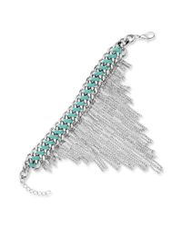 Guess - Metallic Silvertone Woven Suede and Chain Fringe Bracelet - Lyst
