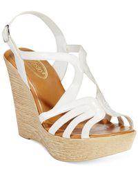 Callisto | White Tiara Platform Wedge Sandals | Lyst