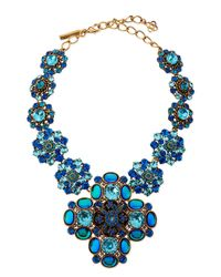 Oscar de la Renta - Swarovski Crystal Necklace Blue - Lyst
