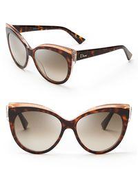 91b0322fa8 Dior Glisten Cat Eye Sunglasses in Brown - Lyst
