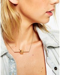 ASOS - Metallic Metal Bar & Stone Necklace - Lyst
