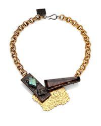 Kelly Wearstler - Metallic Tensile Smoky Quartz, Labradorite & Black Druzy Necklace - Lyst