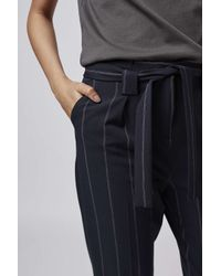 TOPSHOP - Blue Pinstripe Paperbag Trousers - Lyst