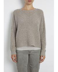 INHABIT | Gray Cashmere Chainette Crochet Dolman Pullover | Lyst