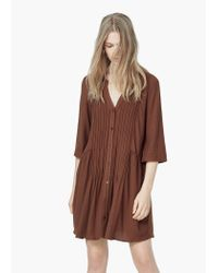 Mango | Brown Textured Pleats Dress | Lyst