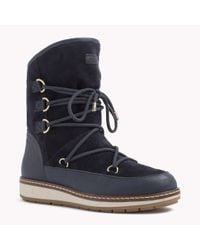 Tommy Hilfiger - Blue Leather Mix Boot - Lyst