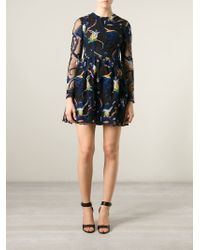 Valentino - Black Embroidered Monkey Tulle Dress - Lyst