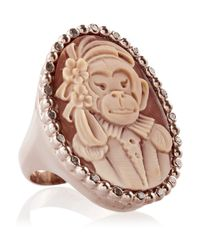 Amedeo | Pink Rose Gold-Plated, Carnelian Shell And Diamond Monkey Cameo Ring | Lyst