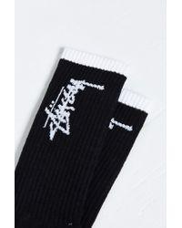 Stussy - Black Stock Sock for Men - Lyst