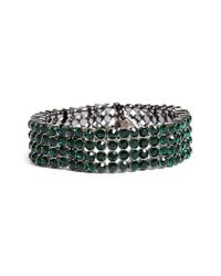 Tasha | Jeweled Stretch Bracelet - Hematite/ Emerald Green | Lyst