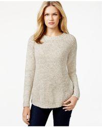 Kensie - Natural Long-sleeve Contrast Pleat-detail Sweater - Lyst