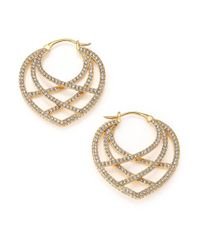 Adriana Orsini - Metallic Elevate Pave Crystal Hoop Earrings - Lyst