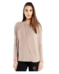 Michael Stars | Natural Lycra Long Sleeve Tee With Fold Over Front Detail | Lyst