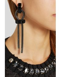 Lanvin - Black Pewter-Plated Crystal Clip Earrings - Lyst