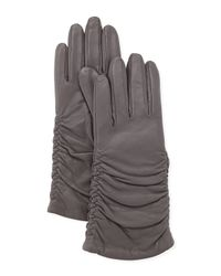 Grandoe - Pris Ruched Leather Gloves Stone Gray - Lyst