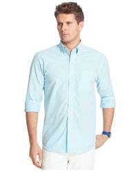 Izod - Blue Gingham Long Sleeve Shirt for Men - Lyst