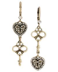 Betsey Johnson | Metallic Gold-tone Crystal Pavé Heart And Key Double Drop Mismatch Earrings | Lyst