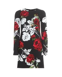 Dolce & Gabbana - Black Floral-Print Shift Dress - Lyst